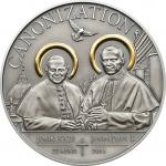 1000 Schillings 2014 Tansania - Canonization of the Popes Ag antique vergoldet