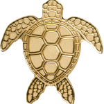 1$ Palau - Golden Sea Turtle Au smartminting©