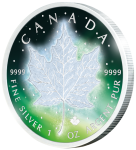 1$ 2016 Kanada - Frozen Maple Leaf - Aurora Rhodium