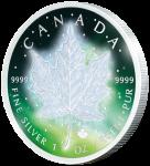 1$ 2016 Kanada - Frozen Maple Leaf - Aurora Rhodium
