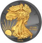 1$ 2016 USA - Golden Enigma - Walking Liberty - 30 Jahre Adler - Premium Ausgabe