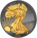 1$ 2015 USA - Golden Enigma - Walking Liberty - Black Ruthenium