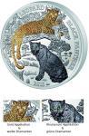 1000 Francs 2014 Ruanda - Leopard und Schwarzer Panther im Etui
