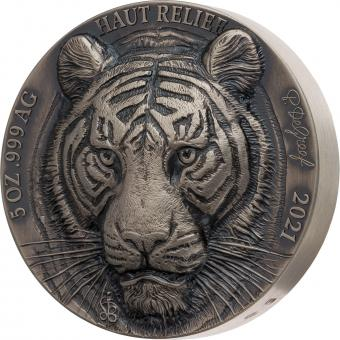 5000 Francs Elfenbeinküste 2021 - Mauquoy Haut Relief - Asian Big Five - Tiger 5oz