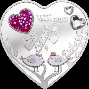 5$ 2021 Cook Islands - Herzmünze - Happy Valentine's Day 2021