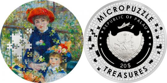 20 $ 2020 Palau - Micropuzzle Treasures - Renoir - Two Sisters