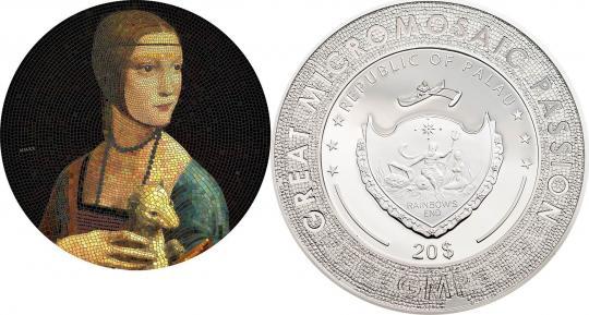 20 $ 2020 Palau - Mikromosaik Leidenschaft - Da Vinci - Lady with an Ermine