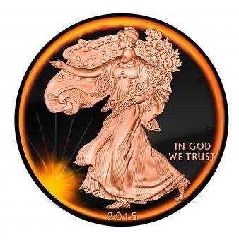 1$ 2015 USA - Eclipse of the sun - American Eagle Liberty
