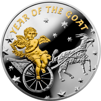 1$ 2015 Niue Island - The Chinese Calendar - Year of the Goat with Angel