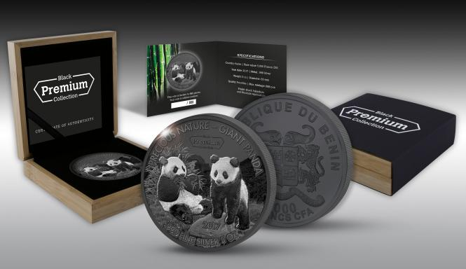5000 Francs 2017 Benin - Black Premium Collection - Precious Nature - Giant Panda