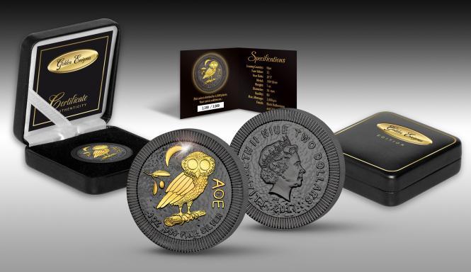 2$ 2017 Niue Island - Golden Enigma -Eule von Athen - Black Ruthenium