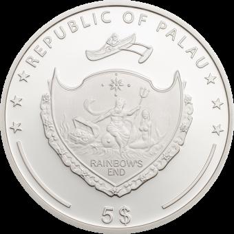 Palau 2017 Four Leaf Clover 5$ Silver 925 1Oz 38,61mm Silver Proof Coin