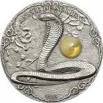 1500 Francs 2013 Togo - Jahr der Schlange mit Bernstein