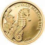 1 $ 2010 Tuvalu - Marine Life - Seepferdchen GOLD